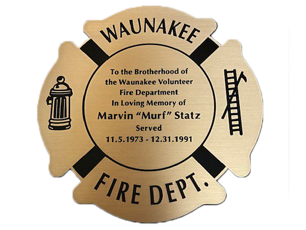 Memorial Bench Plaque in the Shape of a Badge with Graphics