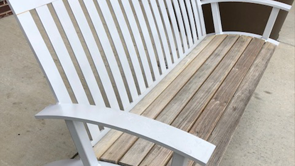 Bench with weathered ipe boards
