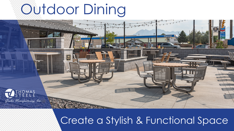 An outdoor dining space with a mix of seating and table sizes, heights and styles.