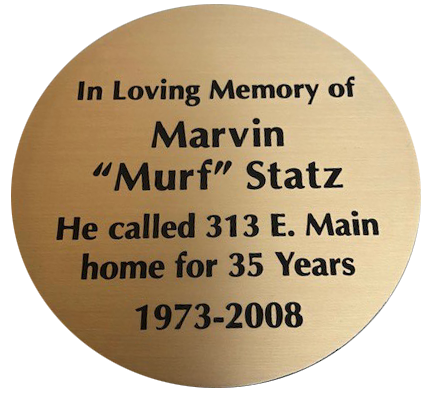 "Round memorial plaque with recessed letters. This is an alternative plaque design than the ""standard""."
