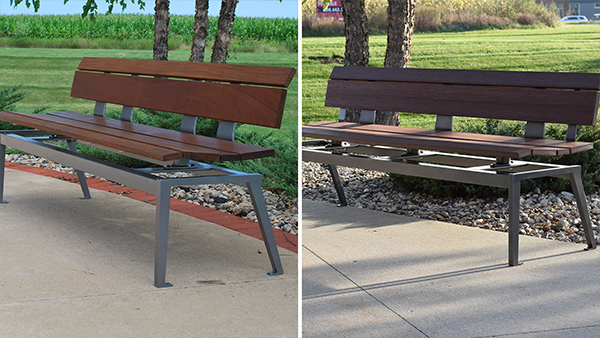 benches made with ipe and recycled plastic