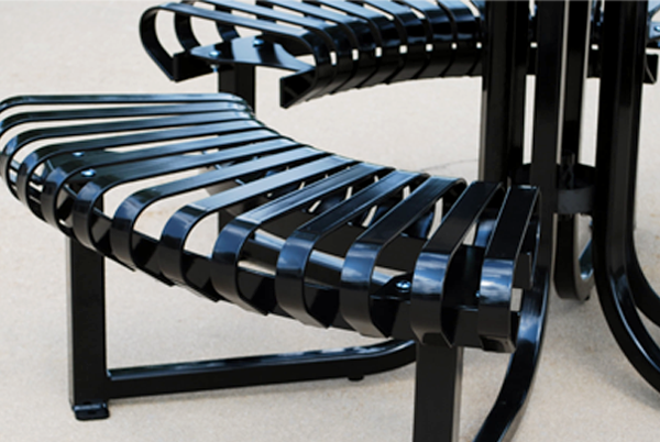 Black metal bench with a powder coat finish.