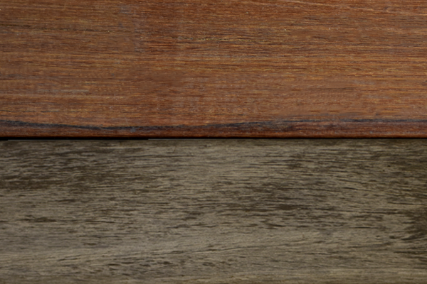 Comparison of oiled and weathered ipe wood.